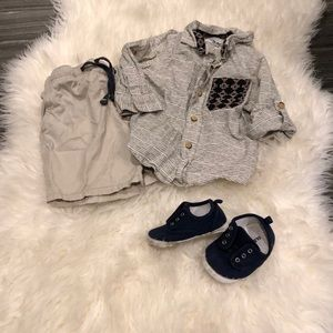 GenuineKids shirt, shorts & shoes bundle (18 mo)